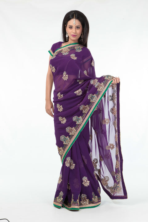 Charismatic Mauve Sari with Rich Gold Border