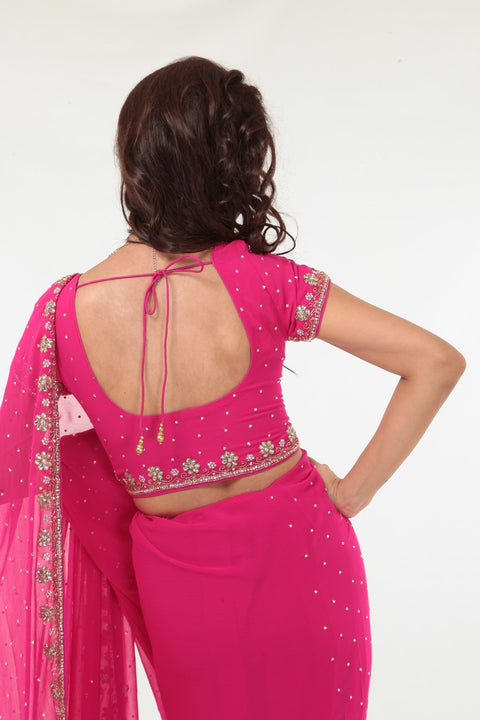 Magnificent in Pink Sari with Delicate Gold Embroidery