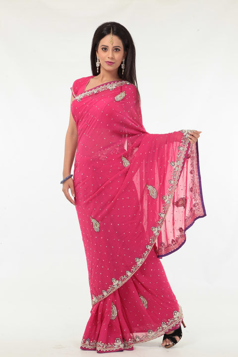 Glitzy and Shiny Stylish Pink Party-wear Sari