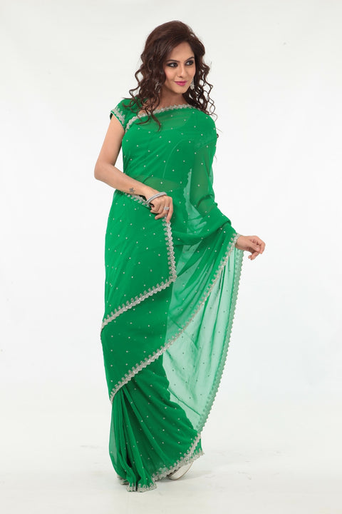 Earthy Green Elegant Sheer Ready-made Sari