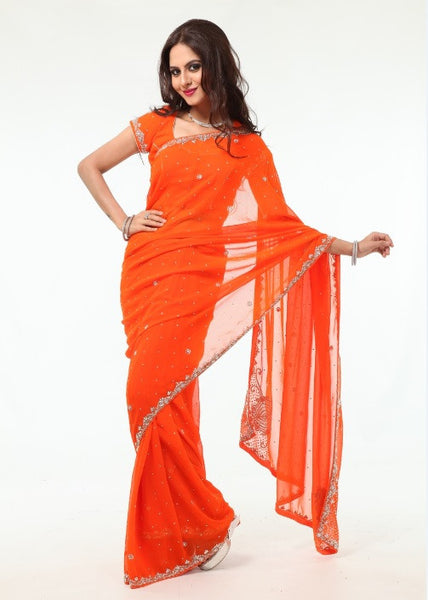 Glowing in Orange Sheer Ready-made Pre-Stitched Sari