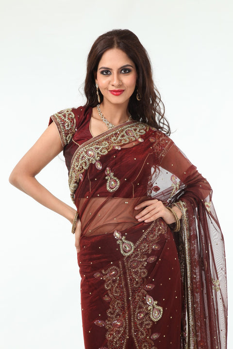 Striking Auburn Diamonds Net Lehenga Style Sari