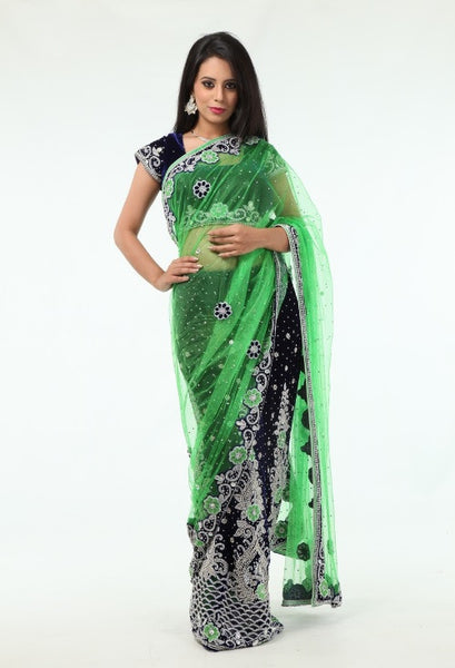 Glamour Redefined Blue & Green Lehenga Style Ready-made Sari