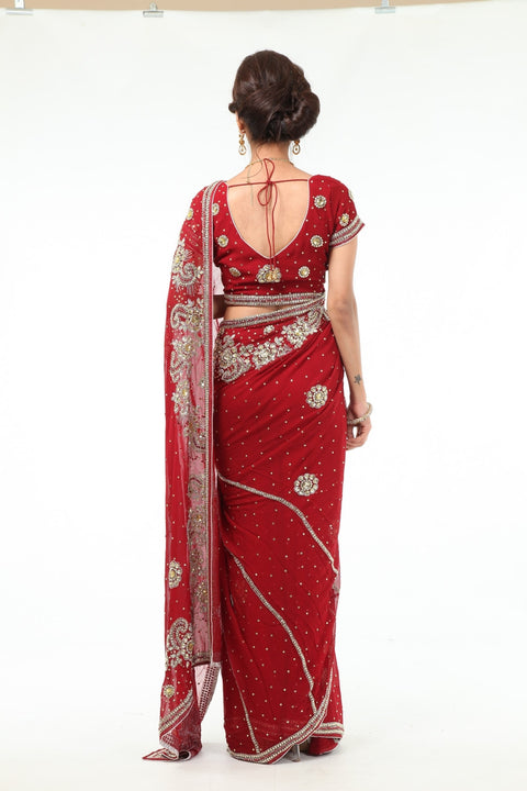 Fabulous Red Diamonds Ready-made Pre-Stiched Sari