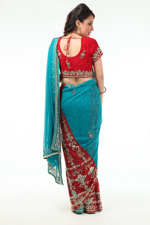 Gorgeous Red & Blue Lehenga Style Ready-made Sari