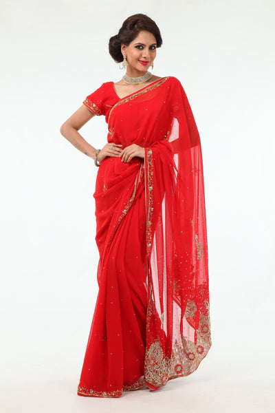 Sparkling Beauty in Red Ready-Made Pre-Stitched Sari