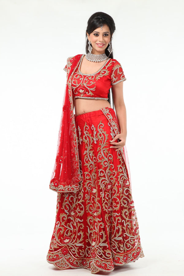 Dazzling Shimmer Diamond Studded Bridal Lehenga Choli