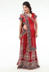 Charming Diamond Studded Stylish Deep Red Lehenga Choli