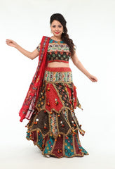 Vibrant & Lovely Red Mirror Work Chania Choli