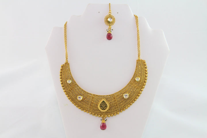 Stunning Gold & Pink Beads Necklace Set with Earrings and Tika