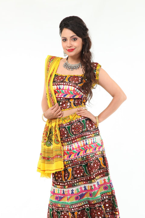 Vivacious and Beautiful in Yellow Mirror Work Chania Choli
