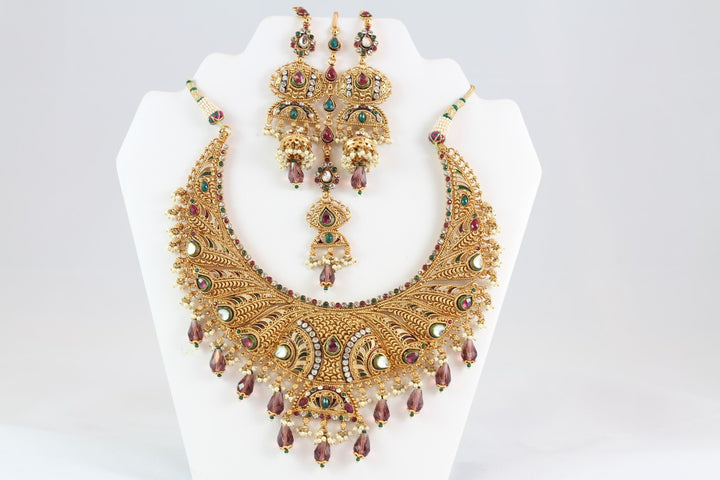 Magnificent Multi-Colored Indian Bridal Jewelry with Earrings and Tika