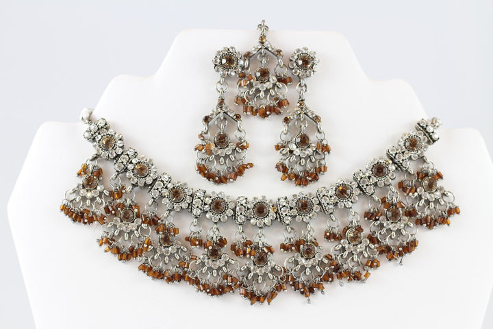 Gorgeous Silver and Brown Necklace Set with Earrings and Tika