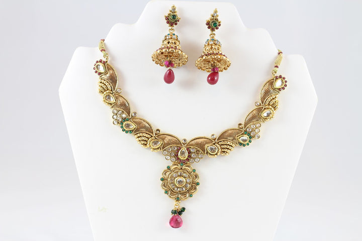 Gorgeous Gold and Pink Necklace Set with Earrings and Tika
