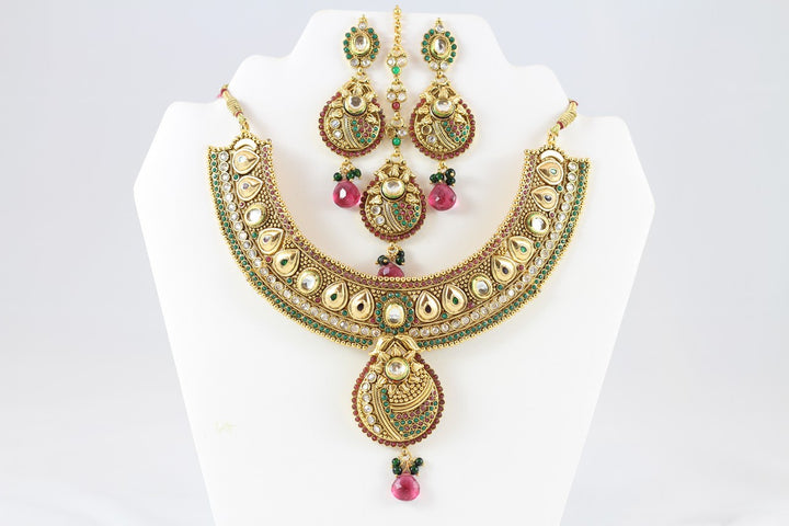 Enchanting Multi-Colored Kundan Necklace Set with Earrings and Tika