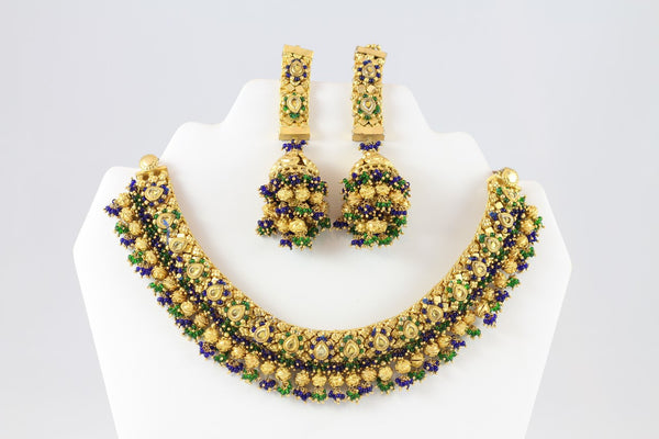 Exquisite Traditional Gold Necklace Set with Earrings