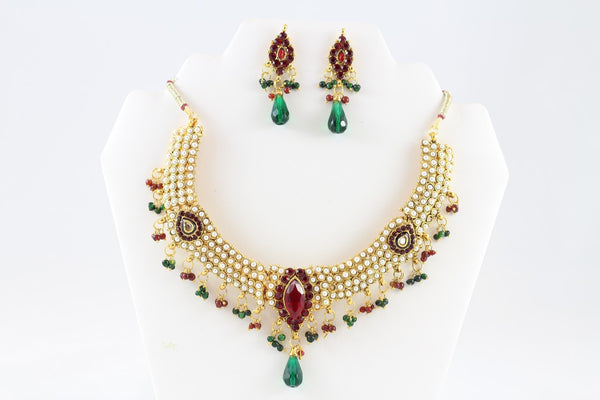 Royal Diva Pearl and Multi-Colored Necklace Set with Earrings
