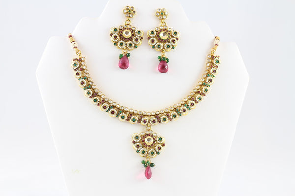 Beautiful Multi-Colored Kundan Necklace Set with Earrings and Tika