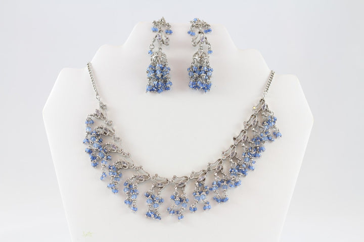 Cool Blue Stunning Silver Necklace Set with Earrings