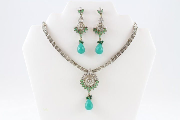 Sparkling Silver and Turquoise Necklace Set with Earrings