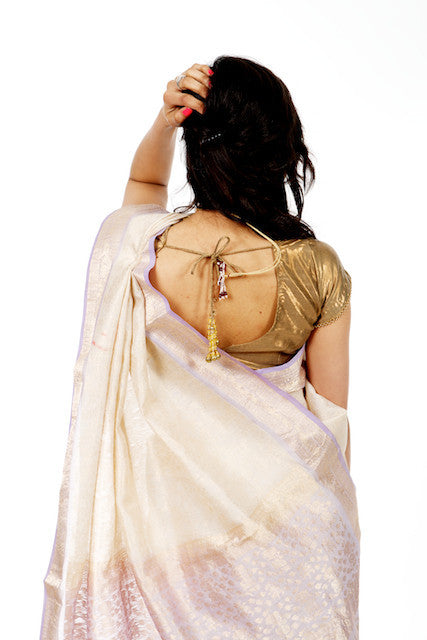 Icy Charm - White Silk Saree