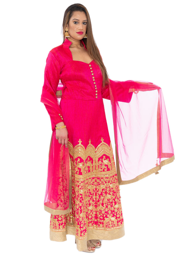 Gala Pink with Gold Embroidered  Indo-Western Long Anarkali Gown