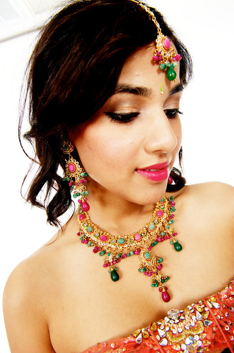 Mira  traditional Indian Necklace, Earrings, Tika Set