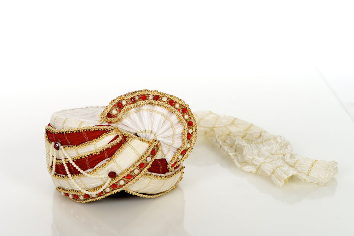 Red & White Grooms Wedding Pagri