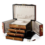 Bubinga w/Elm Burl Inlay 3 Drawer with Swing-out Sides Jewelry Box
