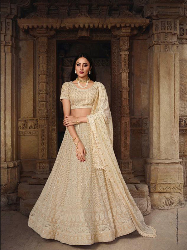 Simplistically Stunning Cream Indian Lehenga - KR923