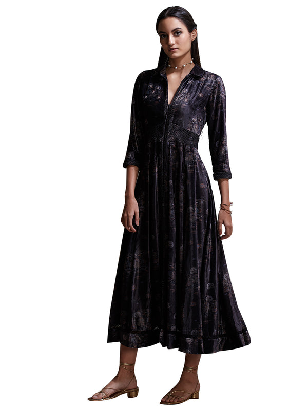Ritu Kumar Black Floral Print Kurta Dress