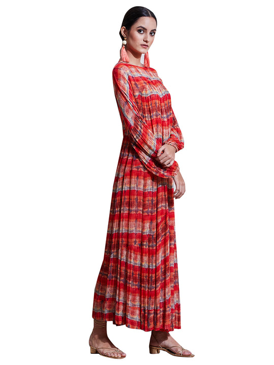 Ritu Kumar Red Geometric Print Dress