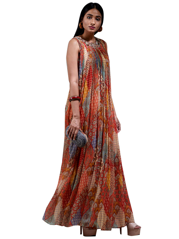 Ritu Kumar Brick Red Printed Kurta Dress