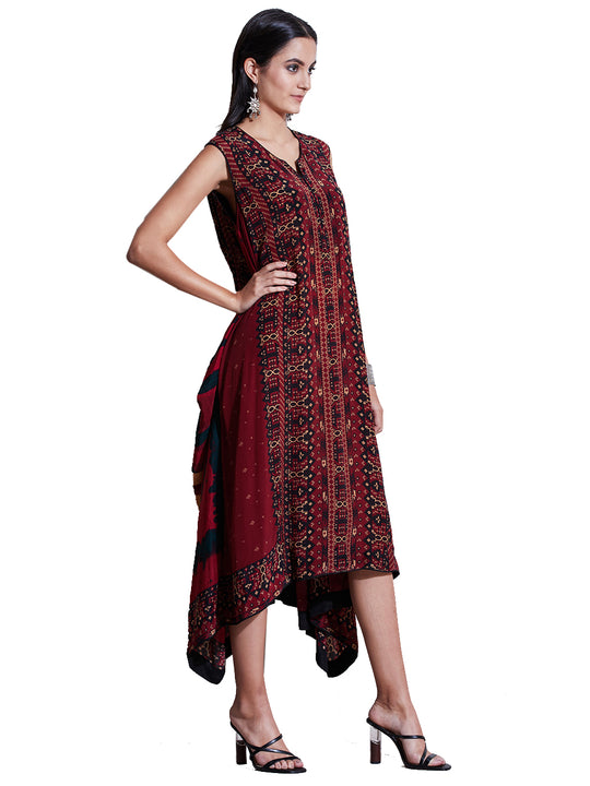 Ritu Kumar Burgundy & Black Printed Asymmetric Dress