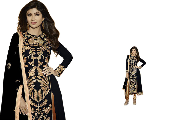 Gorgeous Black and Gold Embroidery Anarkali Churidar - Buy