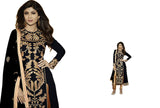 Gorgeous Black and Gold Embroidery Anarkali Churidar - Rent