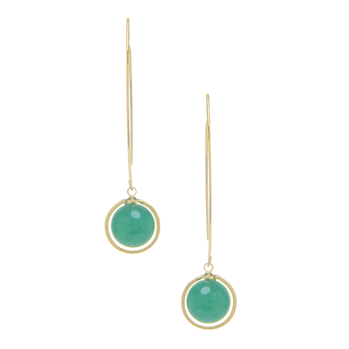 Rivka Friedman 18K Gold Clad Green Aventurine Round Drop Polished Threader Hook Earrings