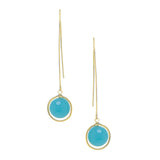 Rivka Friedman 18K Gold Clad Mint Chalcedony Crystal Round Drop Polished Threader Hook Earrings