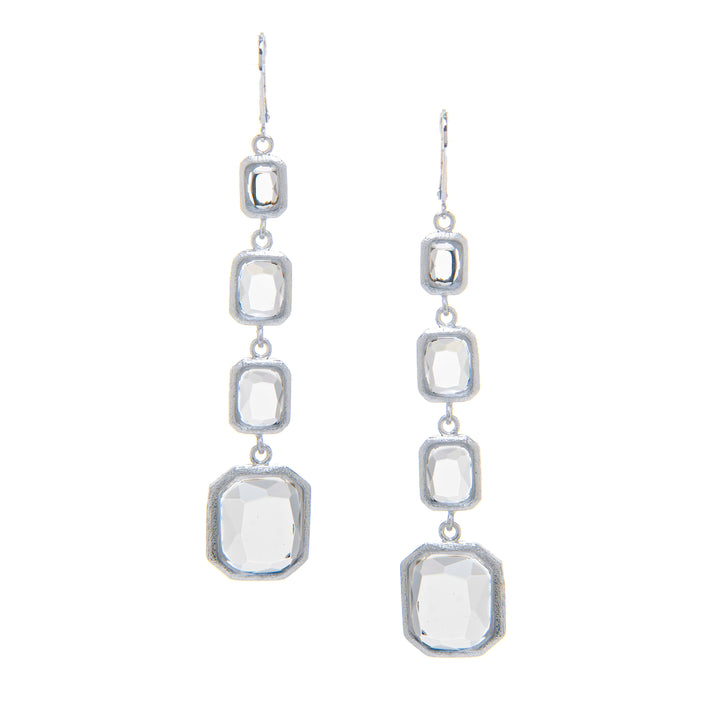 Rivka Friedman White Rhodium Clad Faceted RockCrystal Multi Drop Leverback Earrings