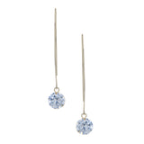 Rivka Friedman White Rhodium Clad Simulated Diamond Threader Earrings