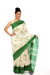 Leafy Affair - Green White Saree