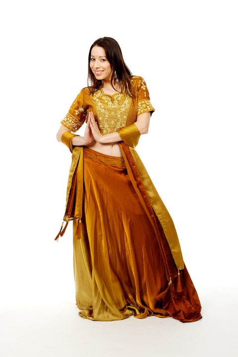 Two toned Gold Lengha