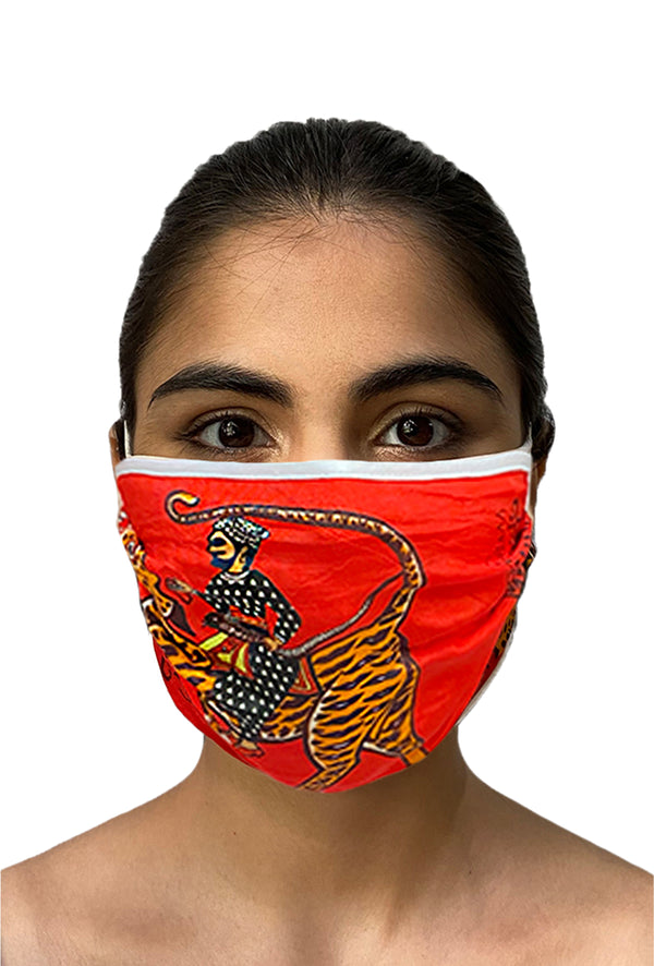 Masaba ReUsable Washable Unisex Face Mask - Double Layered Red Sultan Tiger Print