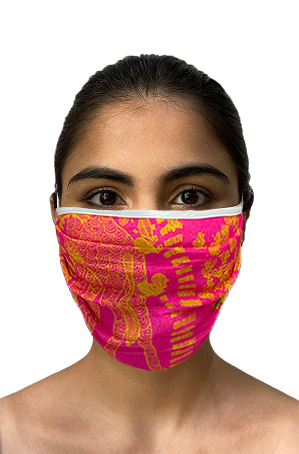 Masaba ReUsable Washable Unisex Face Mask - Double Layered Pink Giraffe Pop Print