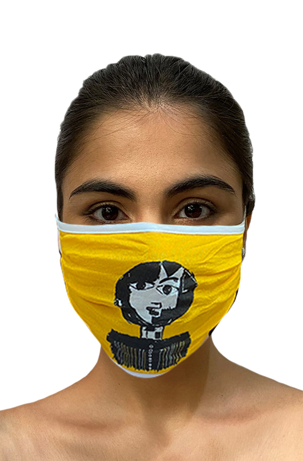 Masaba ReUsable Washable Unisex Face Mask - Double Layered Yellow Reflection Print