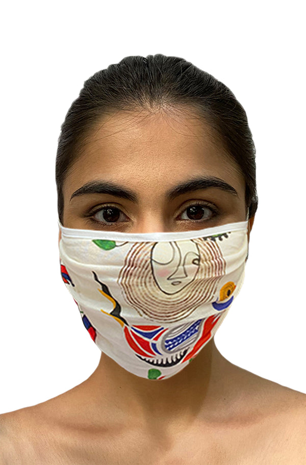 Masaba ReUsable Washable Unisex Face Mask - Double Layered Ivory Bird and Bees Print