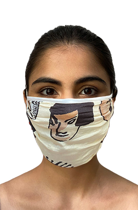 Masaba ReUsable Washable Unisex Face Mask - Double Layered Crepe & Cotton Faces Print