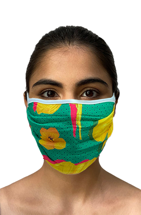 Masaba ReUsable Washable Unisex Face Mask - Double Layered Basil Crayon Flowers Print