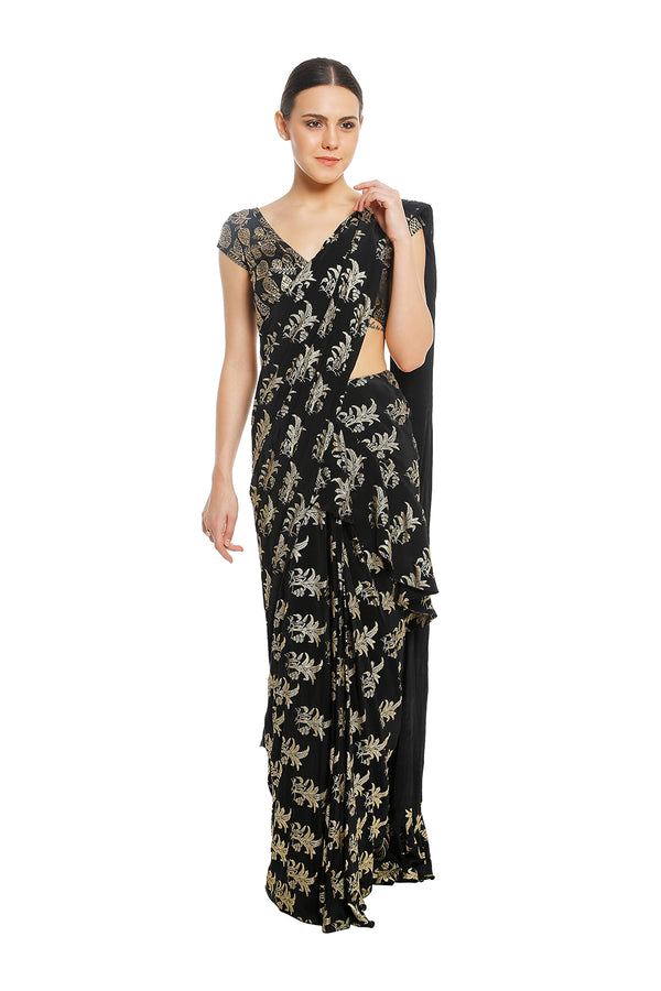 Masaba Black Tropical Banana Ruffle Pleated Saree & Black Wild Pineapple Blouse Piece