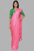 Candy Pink Sparkle Saree With Green Blooming Pillar Blouse